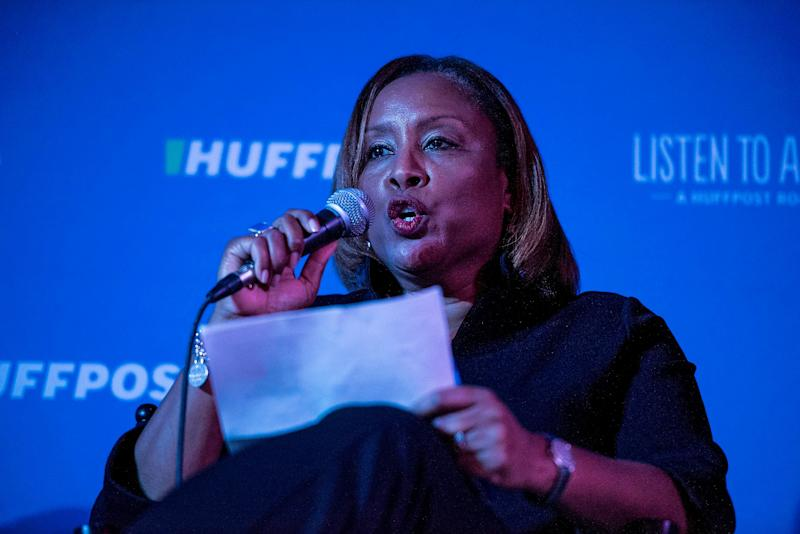 """""""People of color, like people of any other color, start businesses and they work in those businesses, day in and day out for those businesses to grow. ... All with the intention and the hope of being beneficiaries to America's promise: Prosperity for all,"""" Jozelle Booker says to the crowd."""