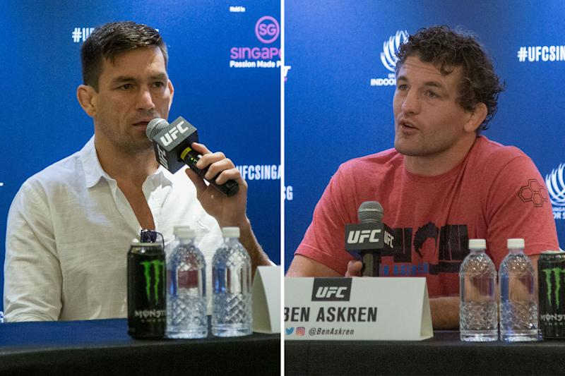 UFC headlining fighters Demian Maia (left) and Ben Askren during the media conference promoting the Fight Night event at Singapore Indoor Stadium on 26 October. (PHOTO: Dhany Osman/Yahoo News Singapore)