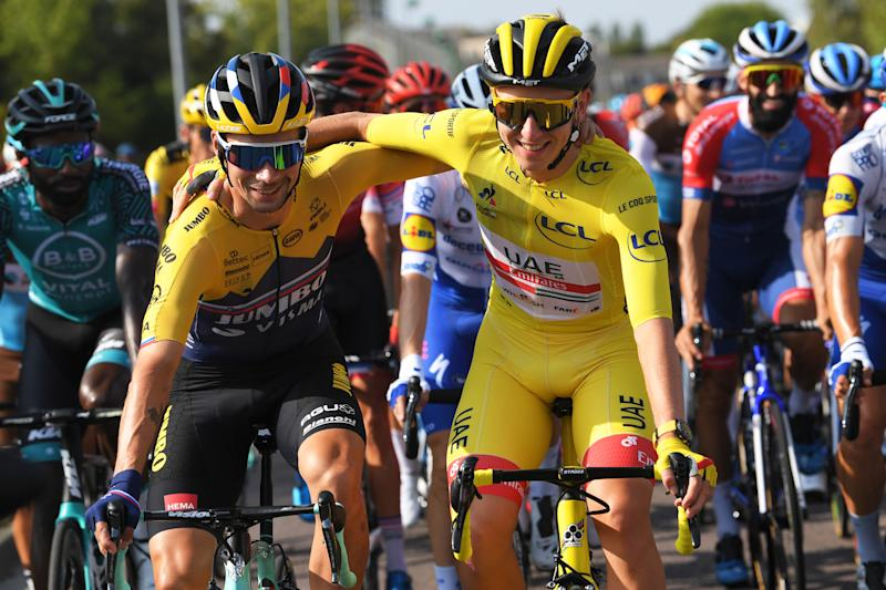 PARIS, FRANCE - SEPTEMBER 20: Primoz Roglic of Slovenia and Team Jumbo - Visma / Tadej Pogacar of Slovenia and UAE Team Emirates Yellow Leader Jersey / during the 107th Tour de France 2020, Stage 21 a 122km stage from Mantes-La-Jolie to Paris Champs-Élysées / #TDF2020 / @LeTour / on September 20, 2020 in Paris, France. (Photo by Tim de Waele/Getty Images)