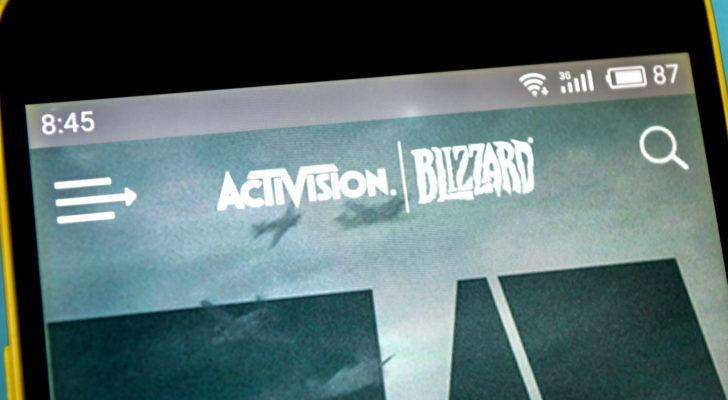 Image of Activision Blizzard (ATVI) logo on a web browser on a mobile phone