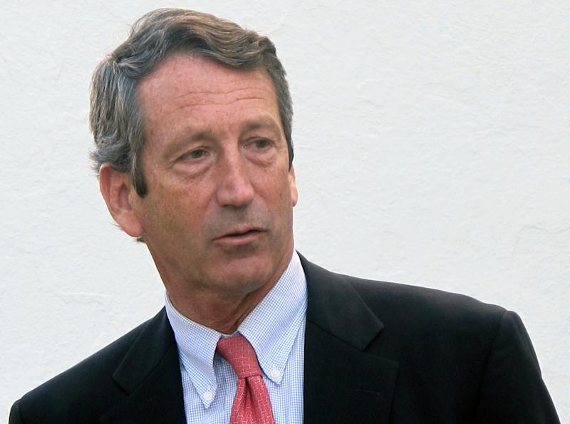 FILE - In this Jan. 19, 2012, file photo, former South Carolina Gov. Mark Sanford leaves a talk on federal fiscal policy at The Citadel in Charleston, S.C.  Sanford a former two-term governor who was a rising GOP star before he vanished from South Carolina for five days in 2009 says he is considering a campaign for his former seat in Congress.  (AP Photo/Bruce Smith, File)