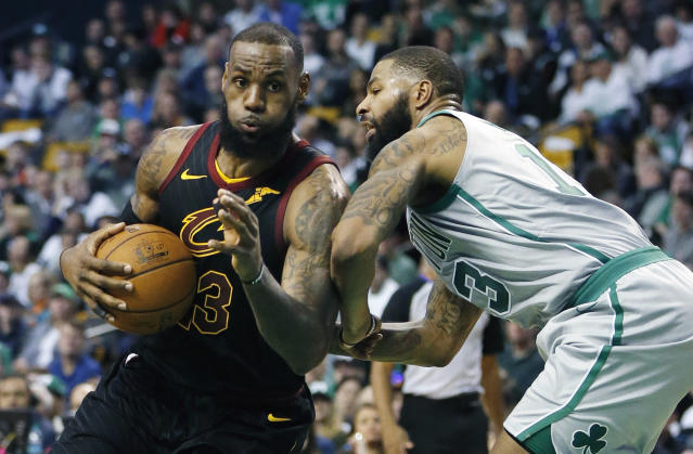 Marcus Morris told reporters on Saturday that there is only one other player in the NBA who can defend LeBron James as well as he does. (AP)