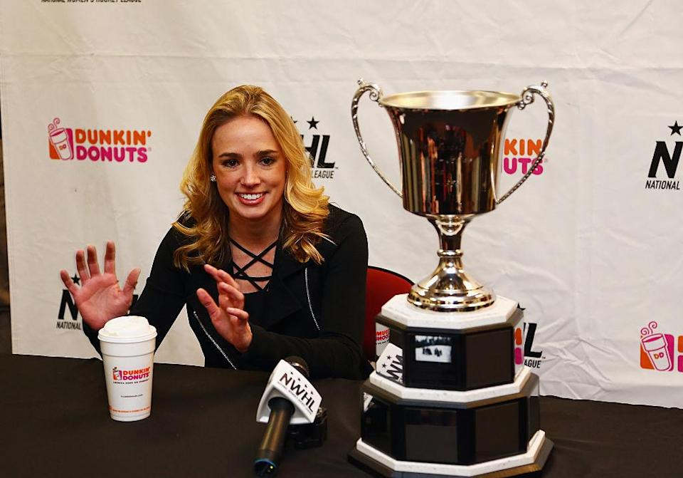 NEWARK, NJ - MARCH 12: NWHL commissioner Dani Rylan addresses the media prior to Game 2 of the league's inaugural championship series between the Boston Pride and the Bufalo Beauts at the New Jersey Devils hockey House on March 12, 2016 in Newark, New Jersey. (Photo by Andy Marlin/Getty Images for NWHL)
