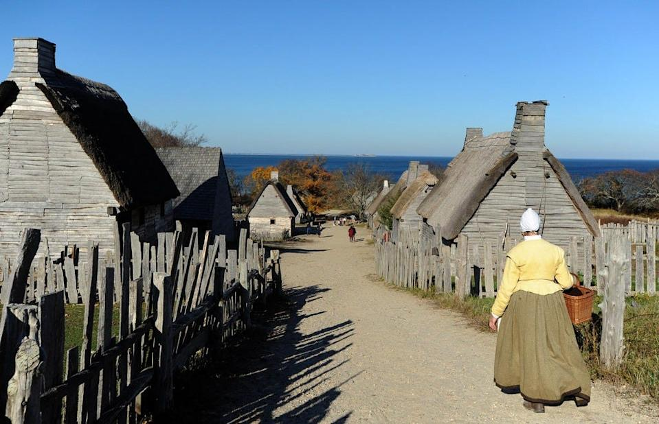 A scene from the Pilgrim Village at Plimoth Patuxet living museum in Plymouth on Nov. 10, 2020.