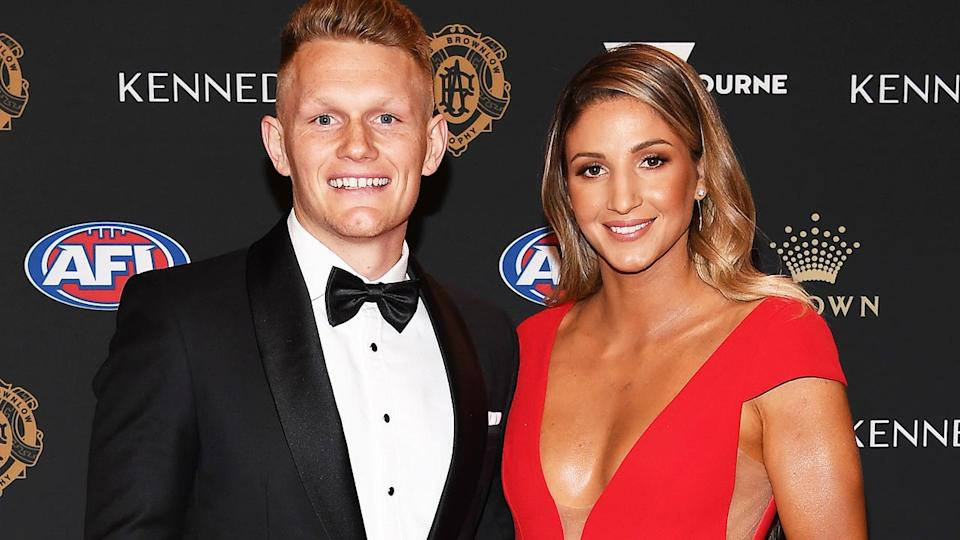 Adam Treloar and Kim Ravaillion, pictured here at the 2019 Brownlow Medal.
