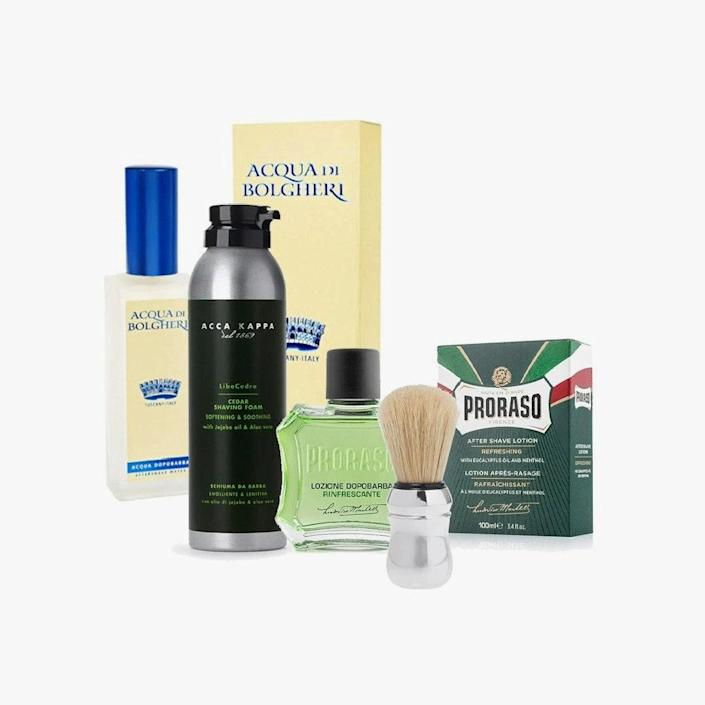 """$98, MOZZAFIATO. <a href=""""https://mozzafiato.com/collections/for-him/products/the-italian-shave"""" rel=""""nofollow noopener"""" target=""""_blank"""" data-ylk=""""slk:Buy Now"""" class=""""link rapid-noclick-resp"""">Buy Now</a><br>"""