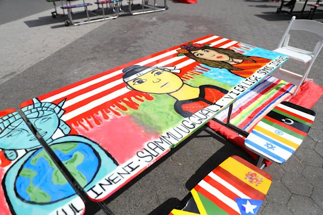 "<p>Art from the ""Immigration: We are all equal"" table in Union Square Park, New York City, June 5, 2018. (Photo: Gordon Donovan/Yahoo News) </p>"