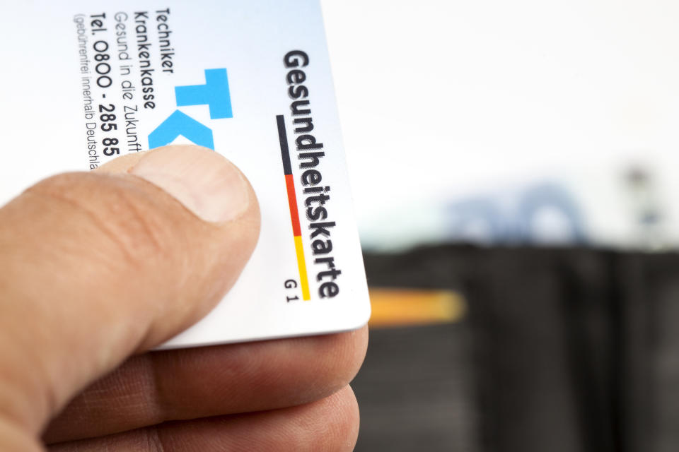 Wiesbaden, Germany - May 20, 2015: Close-up of a German Health Insurance Card. The pictured card is issued by Techniker Krankenkasse. Techniker Krankenkasse (TK) with app. 9.3 million insurants is one of the largest German National Health Insurance companies.