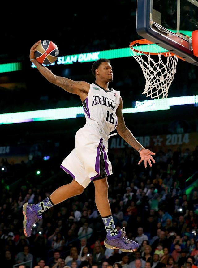 NEW ORLEANS, LA - FEBRUARY 15: Western Conference All-Star Ben McLemore #16 of the Sacramento Kings competes in the Sprite Slam Dunk Contest 2014 as part of the 2014 NBA All-Star Weekend at the Smoothie King Center on February 15, 2014 in New Orleans, Louisiana. NOTE TO USER: User expressly acknowledges and agrees that, by downloading and or using this photograph, User is consenting to the terms and conditions of the Getty Images License Agreement. (Photo by Ronald Martinez/Getty Images)