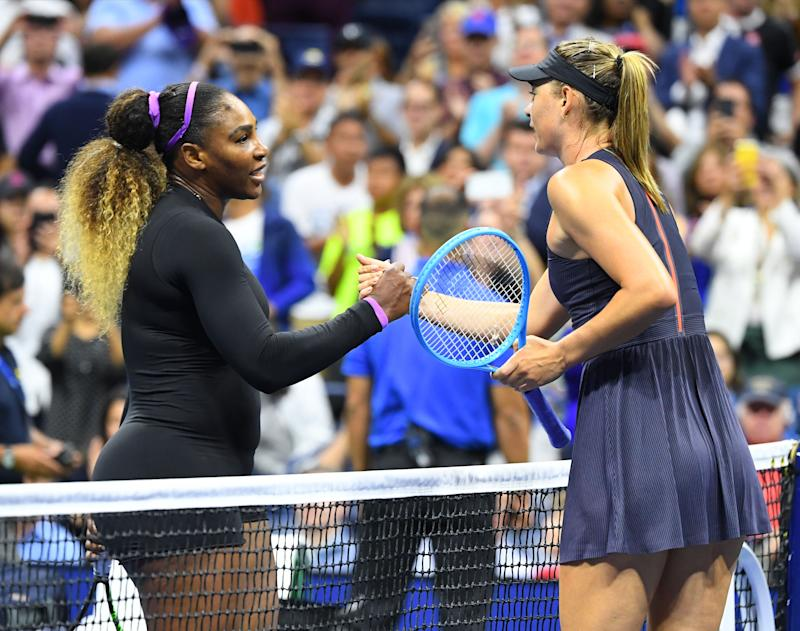 Aug 26, 2019; Flushing, NY, USA; Serena Williams of the USA shakes hands with Maria Sharapova of Russia after their first round match on day one of the 2019 U.S. Open tennis tournament at USTA Billie Jean King National Tennis Center. Mandatory Credit: Robert Deutsch-USA TODAY Sports