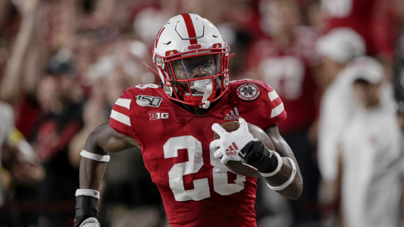 Nebraska running back Maurice Washington (28) runs for a touchdown against Northern Illinois, during the first half of an NCAA college football game in Lincoln, Neb., Saturday, Sept. 14, 2019. (AP Photo/Nati Harnik)