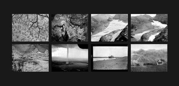 """The Last Pictures"""" montage. Top row (l to r): Cherry Blossoms; The Pit Scene, Lascaux Cave; Grinnell Glacier, Glacier National Park, Montana, 1940; Grinnell Glacier, Glacier National Park, Montana, 2006. Bottom row (l to r): Narbona Panel, Cany"""