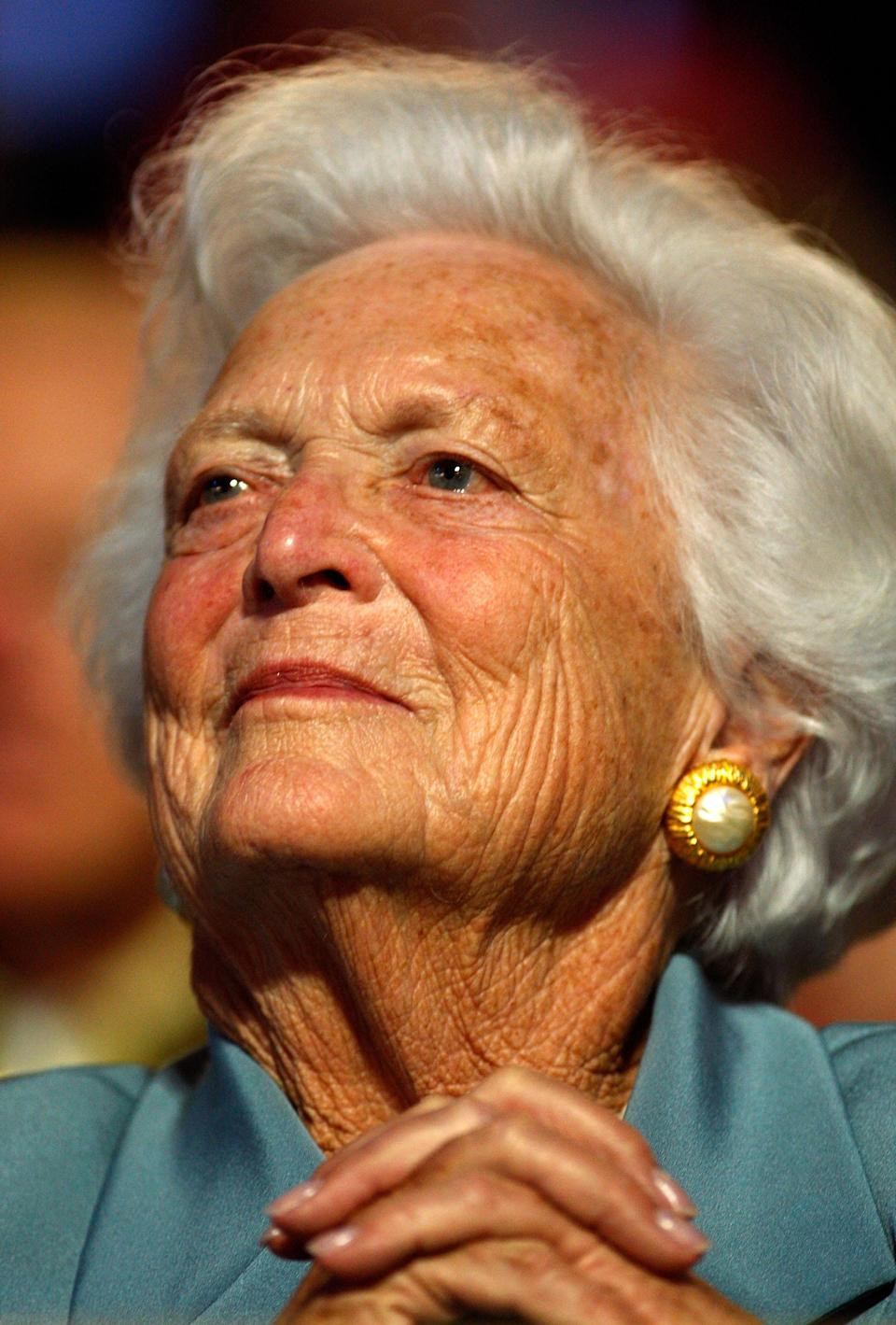Barbara Bush, pictured in 2008, died Tuesday. (Photo: Scott Olson/Getty Images)