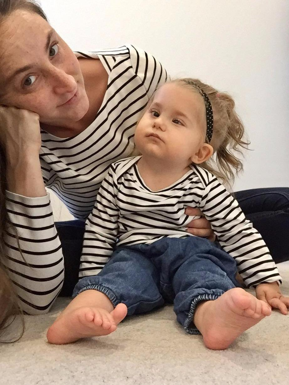 Holly and Koko in their matching stripy tops. Source: Supplied