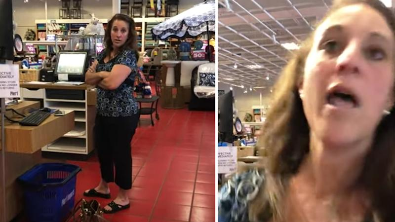 woman coughs on shopper in florida
