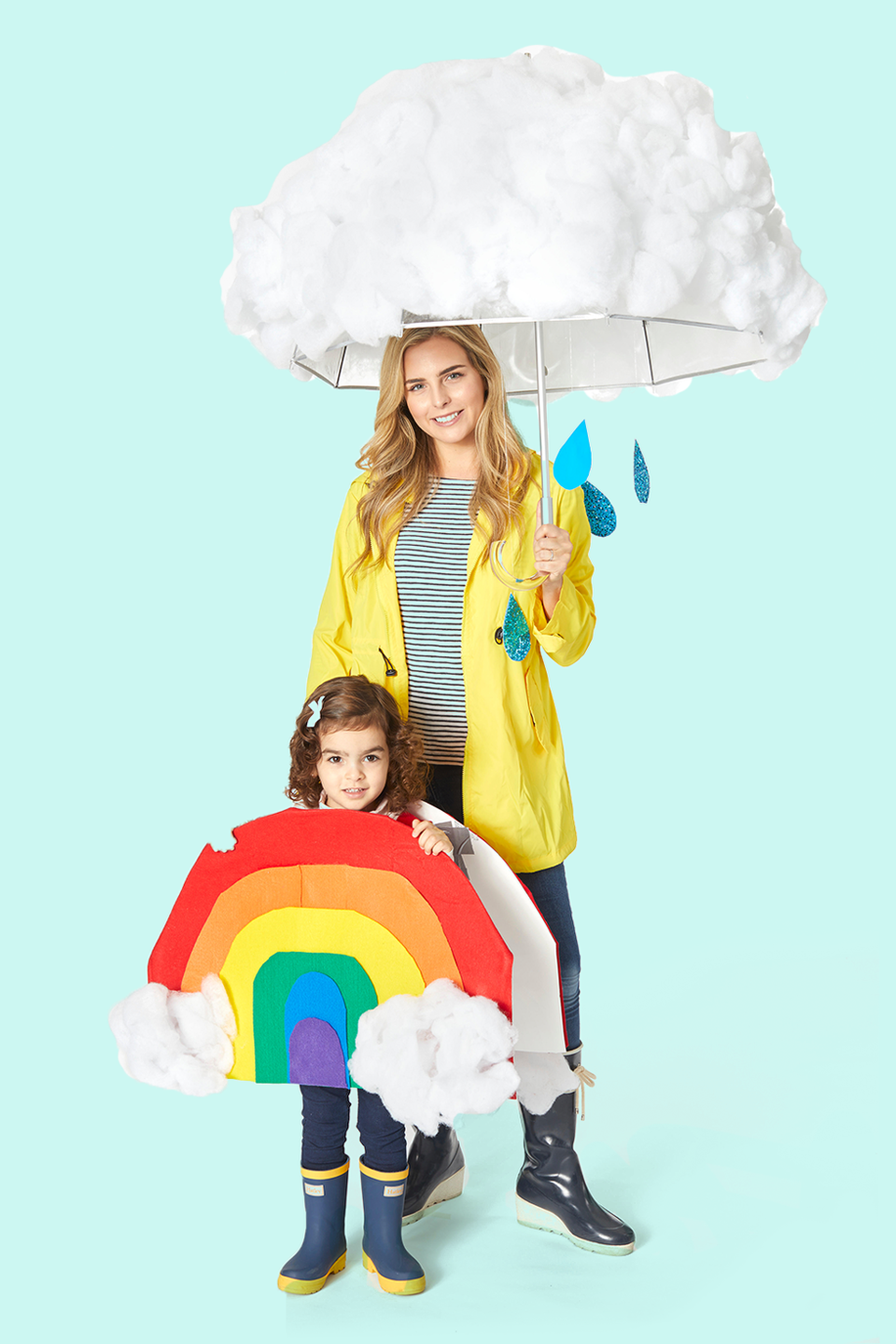 """<p>Most of this costume can be pulled out of your closet (a raincoat, rain boots, and umbrella). The rest you can DIY with your kid out of construction paper and polyester batting.</p><p><strong>Get the tutorial at <a href=""""https://www.goodhousekeeping.com/holidays/halloween-ideas/g2750/easy-last-minute-halloween-costumes-diy/"""" rel=""""nofollow noopener"""" target=""""_blank"""" data-ylk=""""slk:Good Housekeeping"""" class=""""link rapid-noclick-resp"""">Good Housekeeping</a>.</strong> </p><p><a class=""""link rapid-noclick-resp"""" href=""""https://www.amazon.com/Mountain-Mist-Polyester-Batting-36-inch/dp/B0009RWIP4?tag=syn-yahoo-20&ascsubtag=%5Bartid%7C10050.g.28181767%5Bsrc%7Cyahoo-us"""" rel=""""nofollow noopener"""" target=""""_blank"""" data-ylk=""""slk:SHOP POLYESTER BATTING"""">SHOP POLYESTER BATTING</a></p>"""