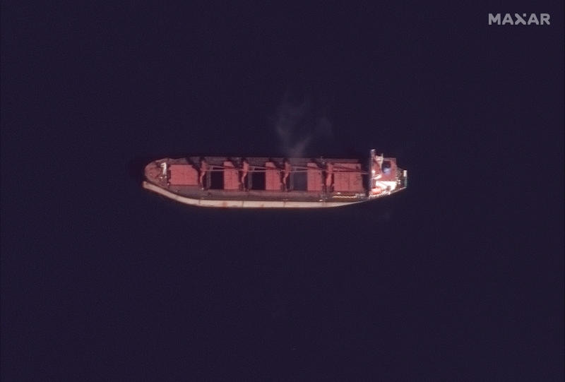 "This Sunday, May 19, 2019 satellite image provided by Maxar Technologies shows the North Korean cargo ship ""Wise Honest,"" center, in Pago Pago, American Samoa. North Korea's U.N. ambassador says the Trump administration should consider the possible consequences its seizing of the North Korean cargo ship could have on relations between the two countries and immediately return the vessel. The vessel was first detained in April 2018 by Indonesia while transporting a large amount of coal. The U.S. announced May 9, 2019, that it had seized the ship because it was carrying coal in violation of U.N. sanctions, a first-of-its kind enforcement action that came amid a tense moment in relations with North Korea. (Satellite image ©2019 Maxar Technologies via AP)"