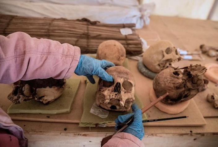 Objects including human skulls and bones were displayed to the press on Sunday, while excavations of the site are ongoing