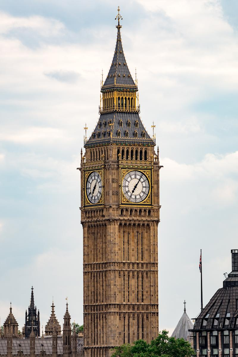 Big Ben London great landmark, the sharpness of the image shows its beautiful details and blue sky and clouds in the background
