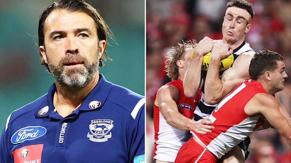 Geelong coach Chris Scott felt Jeremy Cameron should have been paid a mark in the forward pocket during the final minute of the Cats' two-point loss to Sydney. Pictures: Getty Images