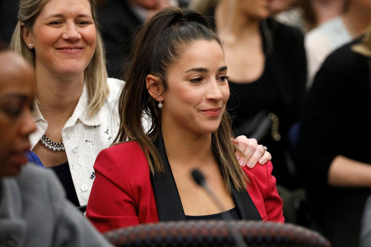 Aly Raisman appears in court Jan. 19, 2018, during the sentencing hearing for Larry Nassar. (Photo: Brendan McDermid / Reuters)