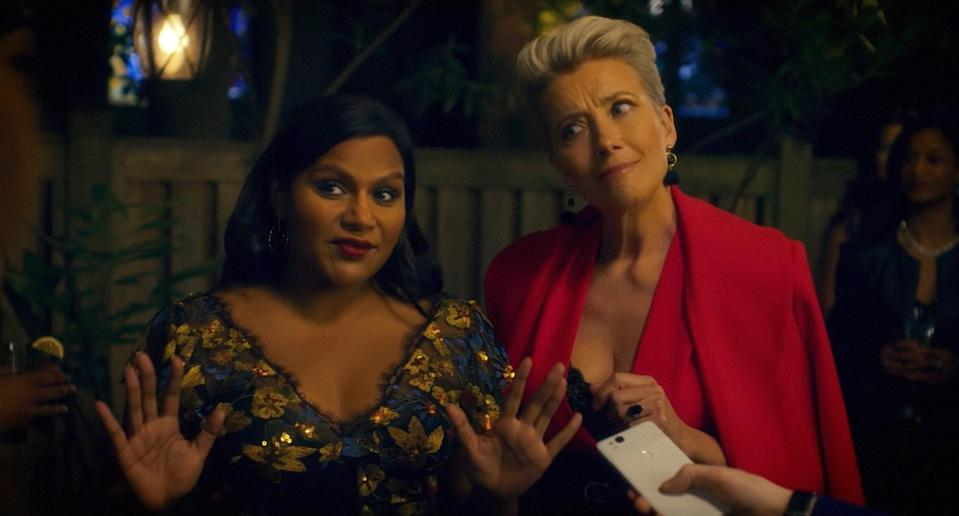 """<p>Mindy Kaling and Emma Thomspon team up for a hilarious story about a young late night talk-show writer and a seasoned host, who is in desperate need of a transformation. Leave it to Kaling's spunky and smart character to do just that.</p> <p><a href=""""https://www.amazon.com/Late-Night-Emma-Thompson/dp/B07WSR1Q6R"""" rel=""""nofollow noopener"""" target=""""_blank"""" data-ylk=""""slk:Available to stream on Amazon Prime"""" class=""""link rapid-noclick-resp""""><em>Available to stream on Amazon Prime</em></a></p>"""