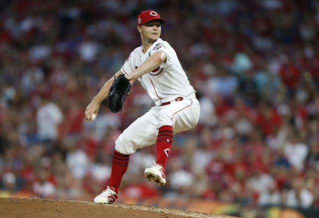 Cincinnati Reds starting pitcher Sonny Gray throws against the Milwaukee Brewers during the seventh inning of a baseball game, Wednesday, July 3, 2019, in Cincinnati. Gray threw eight shut-out innings. The Reds won 3-0. (AP Photo/Gary Landers)