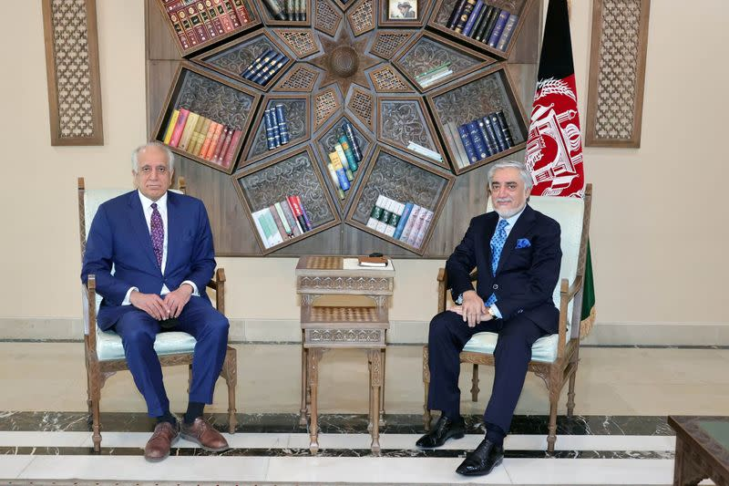 FILE PHOTO: U.S. envoy for peace in Afghanistan Zalmay Khalilzad meet Abdullah Abdullah, Chairman of the High Council for National Reconciliation in Kabul