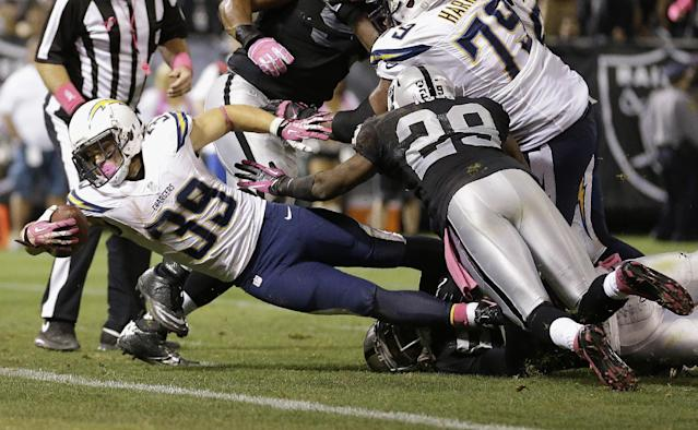 San Diego Chargers running back Danny Woodhead (39) dives past Oakland Raiders cornerback Brandian Ross (29) to score on a 5-yard touchdown reception from quarterback Philip Rivers during the fourth quarter of an NFL football game in Oakland, Calif., Sunday, Oct. 6, 2013. (AP Photo/Tony Avelar)