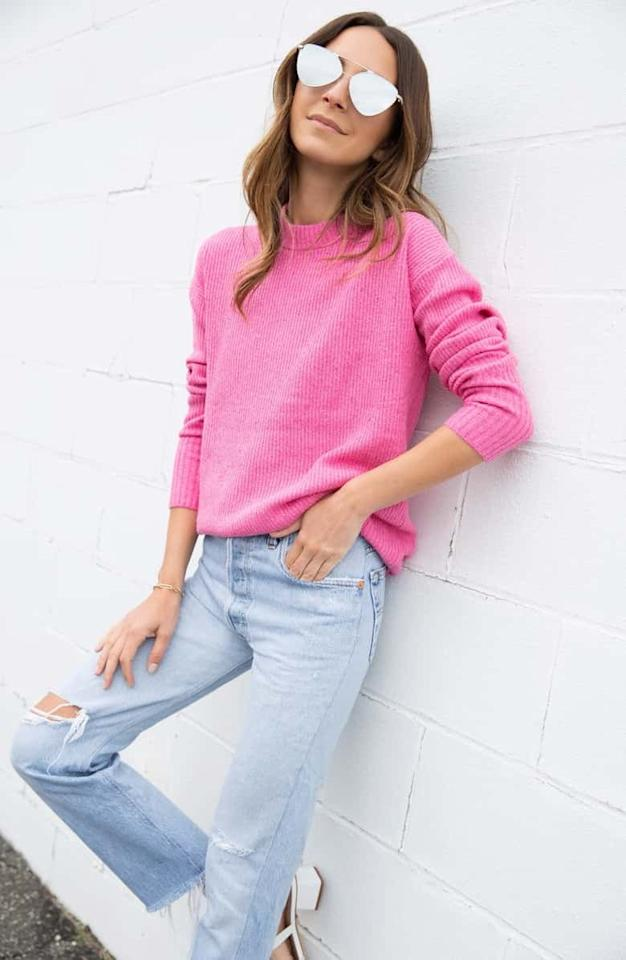 """<p>Love hot pink? Then you need this <a href=""""https://www.popsugar.com/buy/Something-Navy-Flecked-Crewneck-Sweater-486861?p_name=Something%20Navy%20Flecked%20Crewneck%20Sweater&retailer=shop.nordstrom.com&pid=486861&price=48&evar1=fab%3Aus&evar9=45640824&evar98=https%3A%2F%2Fwww.popsugar.com%2Ffashion%2Fphoto-gallery%2F45640824%2Fimage%2F46572680%2FSomething-Navy-Flecked-Crewneck-Sweater&list1=shopping%2Csweaters%2Cwinter%2Cwinter%20fashion&prop13=mobile&pdata=1"""" rel=""""nofollow"""" data-shoppable-link=""""1"""" target=""""_blank"""" class=""""ga-track"""" data-ga-category=""""Related"""" data-ga-label=""""https://shop.nordstrom.com/s/something-navy-flecked-crewneck-sweater-nordstrom-exclusive/5214899?origin=category-personalizedsort&amp;breadcrumb=Home%2FWomen%2FClothing%2FSweaters&amp;color=pink%20shock"""" data-ga-action=""""In-Line Links"""">Something Navy Flecked Crewneck Sweater</a> ($48, originally $79).</p>"""