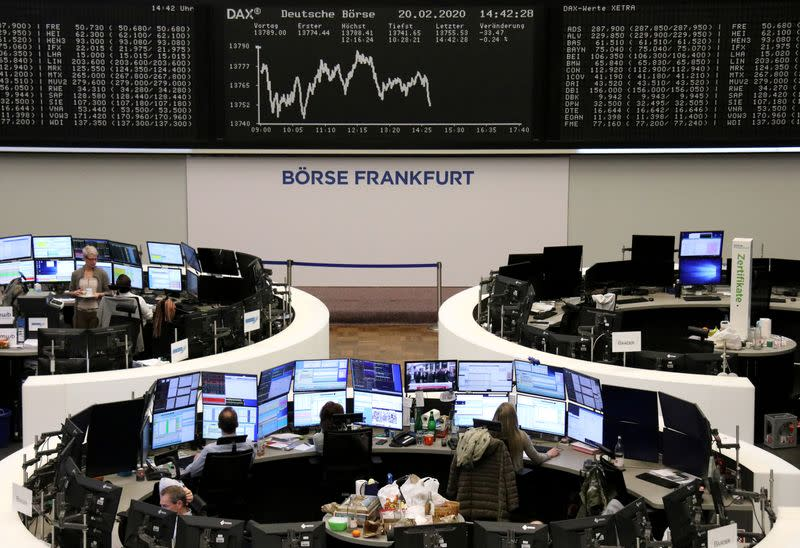 European shares up on defensive plays as stimulus hopes laced with caution