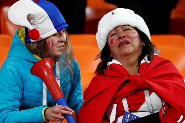 Soccer Football - World Cup - Group C - France vs Peru - Ekaterinburg Arena, Yekaterinburg, Russia - June 21, 2018 Peru fans look dejected after the match REUTERS/Damir Sagolj