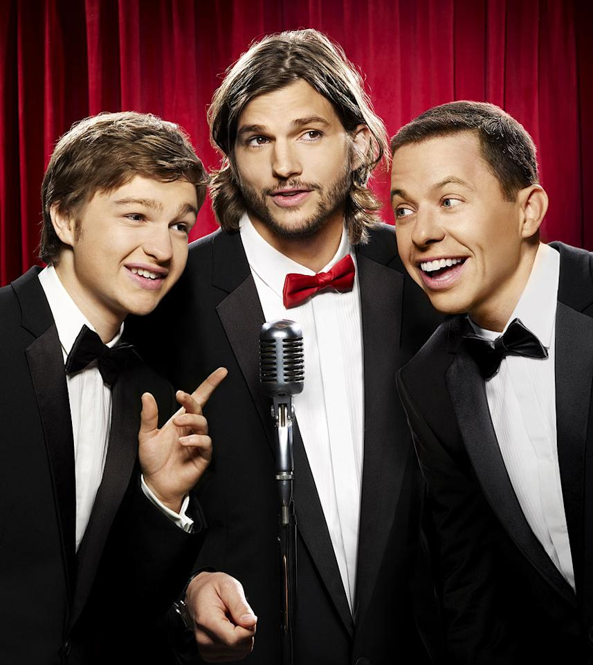 "Angus T. Jones, Ashton Kutcher and Jon Cryer star in ""Two and a Half Men."""