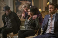 """This image released by Lionsgate shows Samuel L. Jackson, from left, Antonio Banderas, Salma Hayek and Ryan Reynolds in a scene from """"The Hitman's Wife's Bodyguard."""" (David Appleby/Lionsgate via AP)"""
