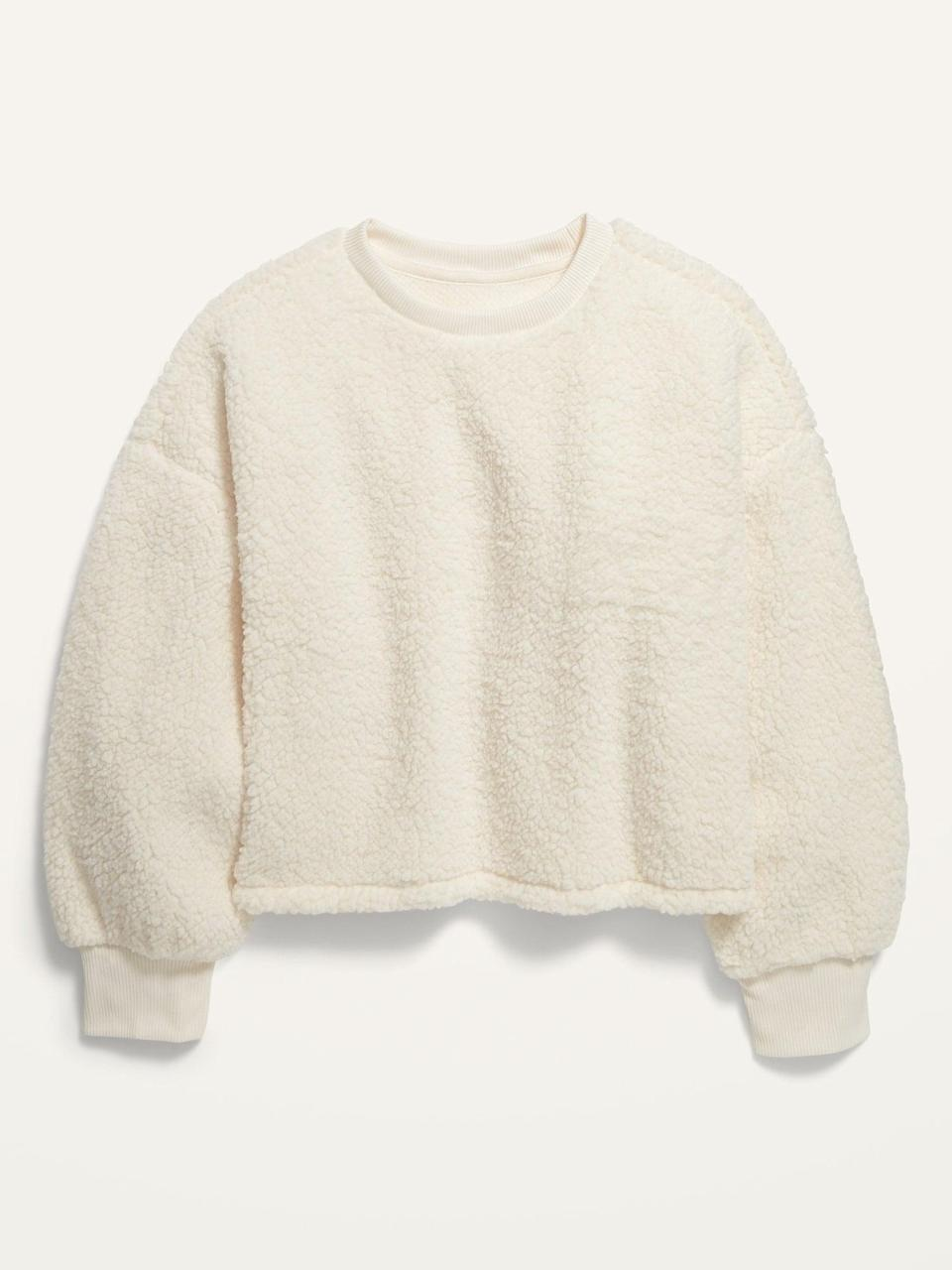 <p>You'll just want to live in this <span>Slouchy Sherpa Cropped Pullover</span> ($10, originally $20).</p>