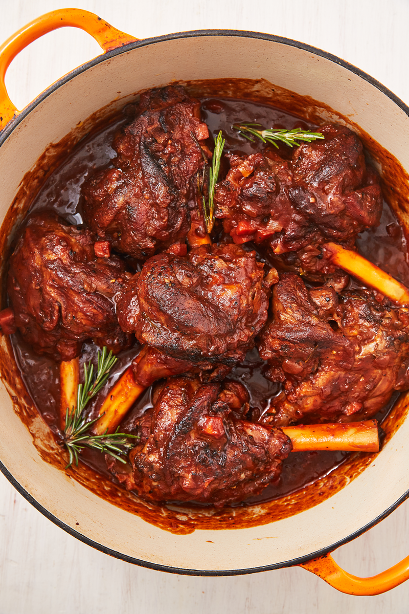 """<p>Braising <a href=""""https://www.delish.com/uk/cooking/recipes/a32152559/lamb-burger-recipe/"""" rel=""""nofollow noopener"""" target=""""_blank"""" data-ylk=""""slk:lamb"""" class=""""link rapid-noclick-resp"""">lamb</a> shanks might sound a little intimidating, but honestly, it couldn't be easier. After a quick sear, the oven does all the work for you! You'll have the most tender, fall-off-the-bone lamb for the most comforting dinner you've had all year! </p><p>Get the <a href=""""https://www.delish.com/uk/cooking/recipes/a32327534/braised-lamb-shank-recipe/"""" rel=""""nofollow noopener"""" target=""""_blank"""" data-ylk=""""slk:Braised Lamb Shanks"""" class=""""link rapid-noclick-resp"""">Braised Lamb Shanks</a> recipe.</p>"""