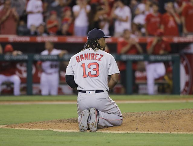 Hanley Ramirez reacts after throwing away the game. (AP)