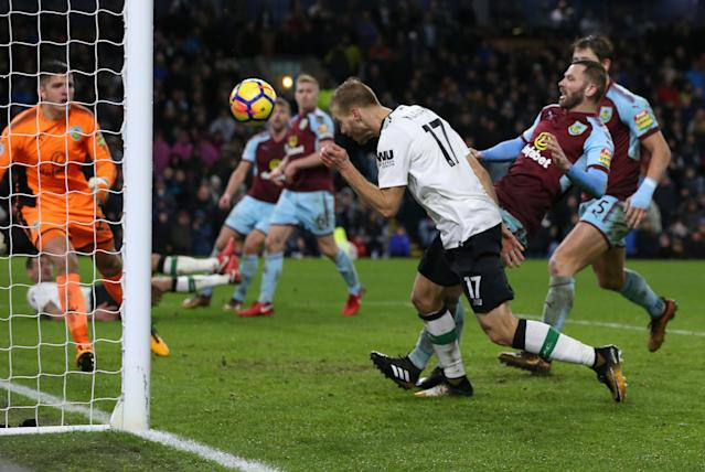 Ragnar Klavan heads in Liverpool's winner at Burnley on Monday. (Getty)