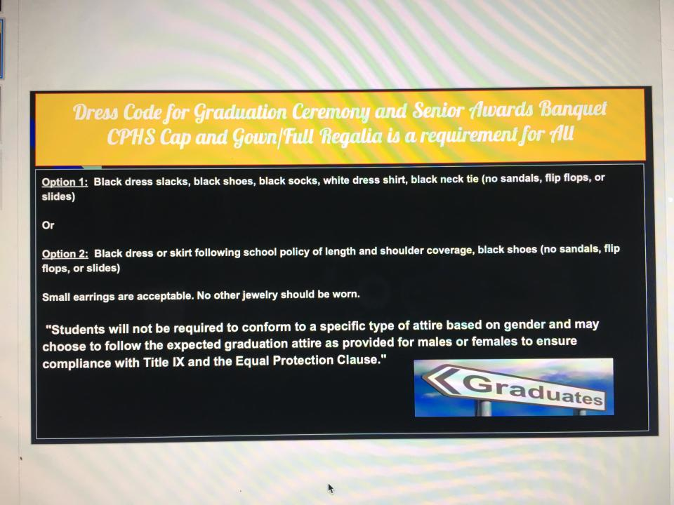 Cumberland Polytechnic High School revised its dress code, an alleged copy of which is shown above, allowing girls to wear pants at graduation — with a necktie. (Screenshot: Courtesy of Lacey Henry)