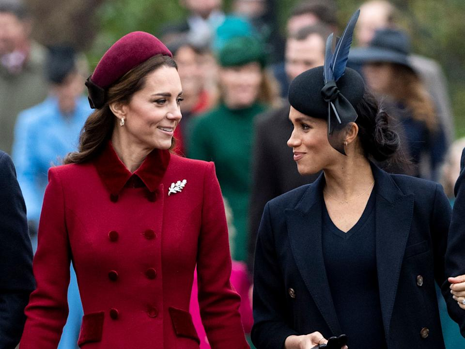 Kate Middleton and Meghan Markle attend Christmas Day service at the Church of St. Mary Magdalene on the Sandringham Estate on Dec. 25, 2018, in King's Lynn, England. (Photo: Mark Cuthbert via Getty Images)