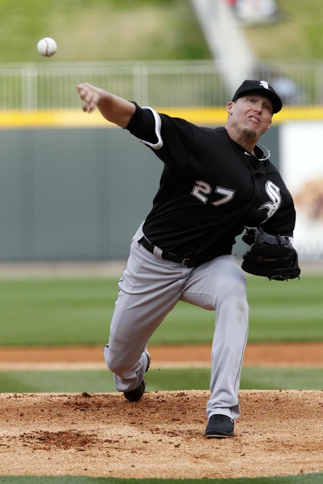 Chicago White Sox pitcher Matt Lindstrom throws during a spring exhibition baseball game against the Birmingham Barons on Friday, March 28, 2014, in Birmingham, Ala. (AP Photo/Butch Dill)