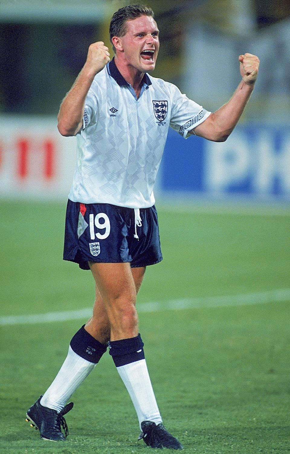 26 Jun 1990:  Paul Gascoigne of England celebrates during the World Cup second round match against Belgium at the Dall''Ara Stadium in Bologna, Italy. England won the match 1-0 after extra time.  \ Mandatory Credit: Dave Cannon /Allsport