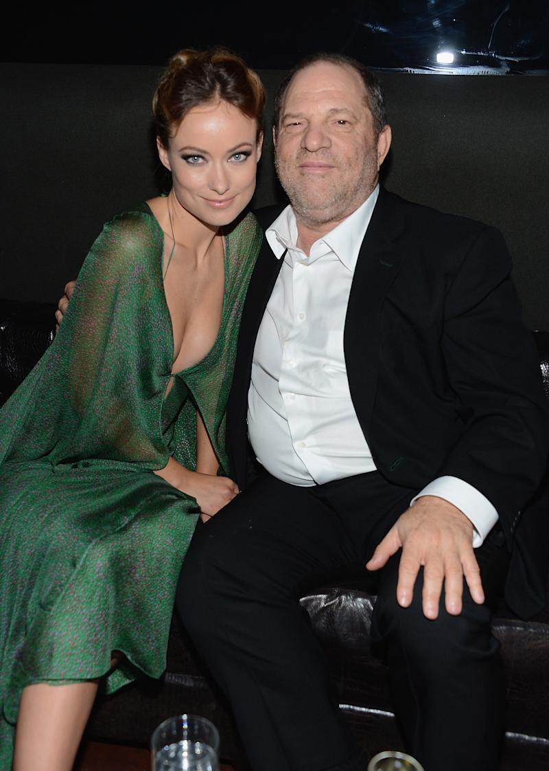 Actress Olivia Wilde with producer Harvey Weinstein in 2012 at a Cinema Society event's after-party in New York City. (Dimitrios Kambouris/WireImage via Getty Images)