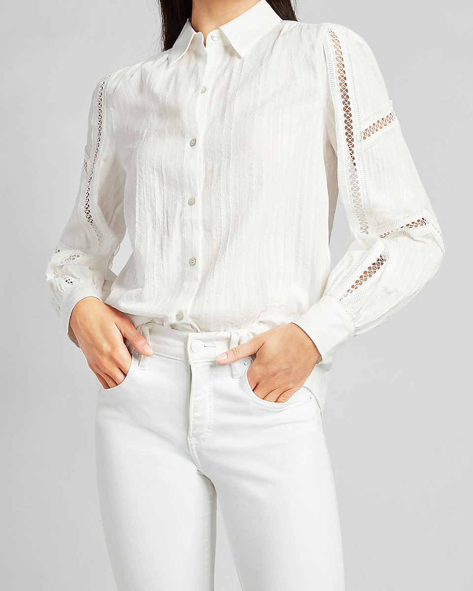 """<h2>Express Lace Inset Button-Up Shirt</h2><br><strong>The Best White Lace Button-Down</strong><br>After a while, white button-downs all tend to look the same, don't they? This one with gorgeous lace details dares to be unique while still staying on assignment.<br><br><strong>The Hype: </strong>4 out of 5 stars and 3 reviews on Express<br><br><strong>What They're Saying:</strong> """"Beautiful top. Fits perfectly. I love the feminine look, great quality. LOVE!!""""<br><br><strong>Express</strong> Lace Inset Button-Up Shirt, $, available at <a href=""""https://go.skimresources.com/?id=30283X879131&url=https%3A%2F%2Fwww.express.com%2Fclothing%2Fwomen%2Flace-inset-button-up-shirt%2Fpro%2F09706658%2Fcolor%2FWhite%2F"""" rel=""""nofollow noopener"""" target=""""_blank"""" data-ylk=""""slk:Express"""" class=""""link rapid-noclick-resp"""">Express</a>"""