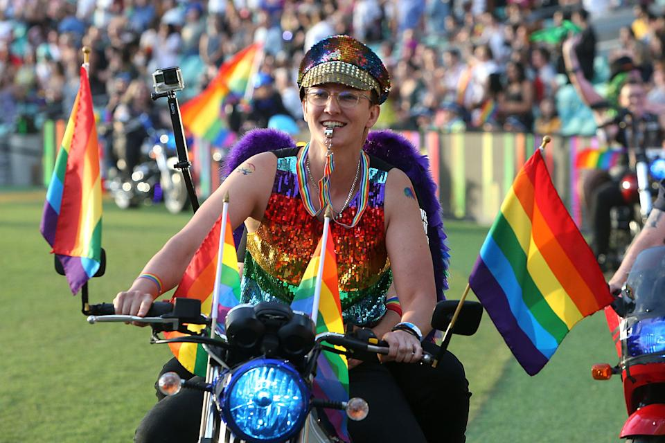 Dykes on Bikes parade around the SCG during the 43rd Sydney Gay and Lesbian Mardi Gras Parade on March 06, 2021 in Sydney, Australia. (Photo: Lisa Maree Williams/Getty Images)
