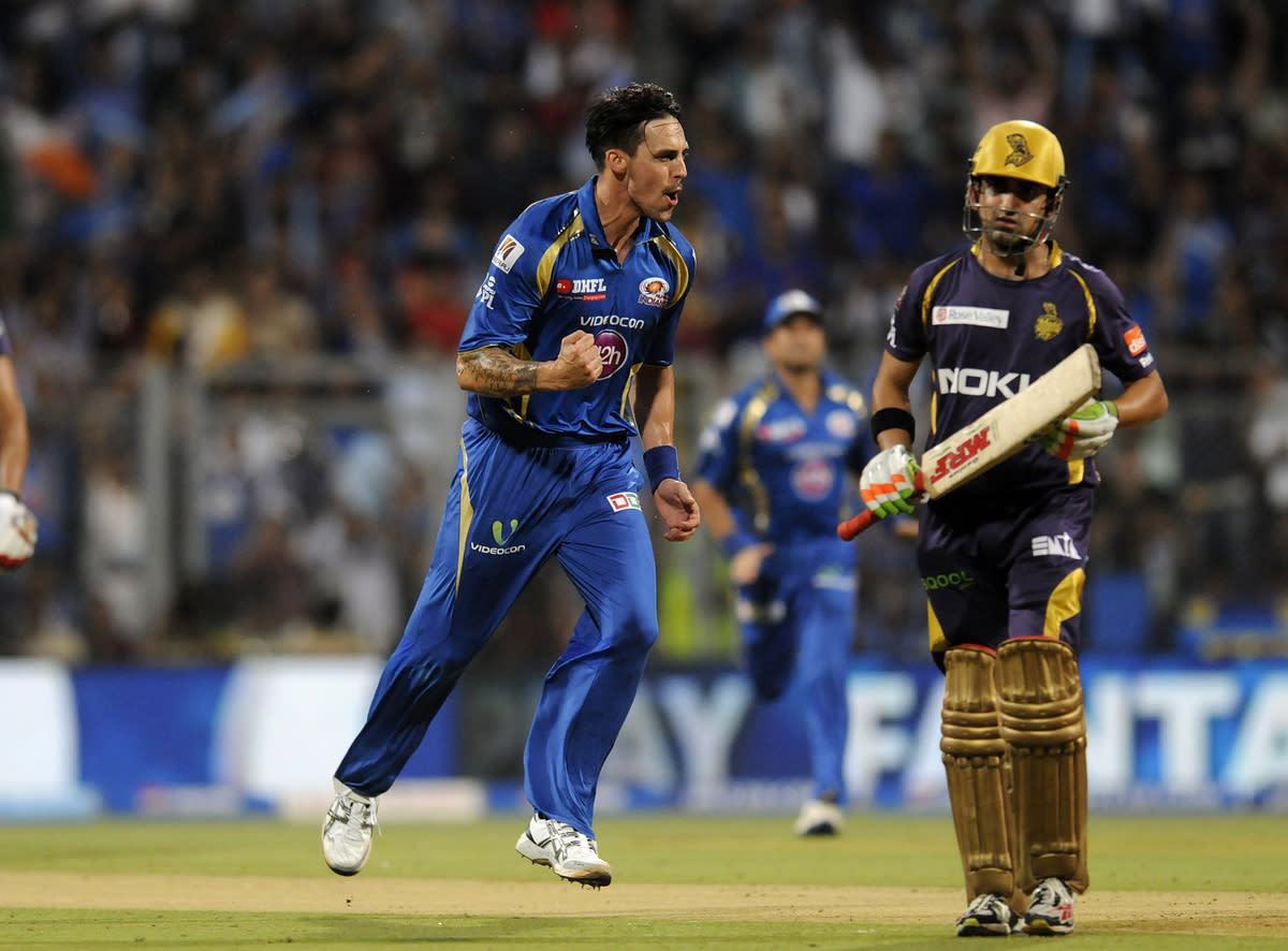 Mitchell Johnson of Mumbai Indians celebrates the wicket of Gautam Gambhir captain of Kolkata Knight Riders during match 53 of the Pepsi Indian Premier League ( IPL) 2013  between The Mumbai Indians and the Kolkata Knight Riders held at the Wankhede Stadium in Mumbai on the 7th May 2013 ..Photo by Pal Pillai-IPL-SPORTZPICS  ..Use of this image is subject to the terms and conditions as outlined by the BCCI. These terms can be found by following this link:..https://ec.yimg.com/ec?url=http%3a%2f%2fwww.sportzpics.co.za%2fimage%2fI0000SoRagM2cIEc&t=1490688407&sig=1q.LpjzB2ohP05OUEeJOPw--~C