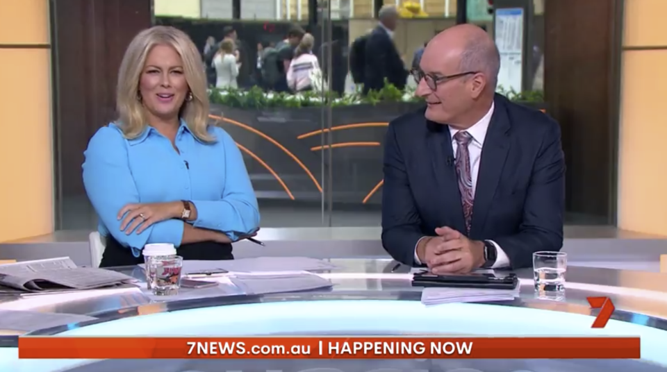 Sam Armytage was left unimpressed on Tuesday morning when a Sunrise reporter's live cross from Brisbane was taken over by a group of 'zombies' protesting climate change outside of Queensland parliament. Photo: Seven