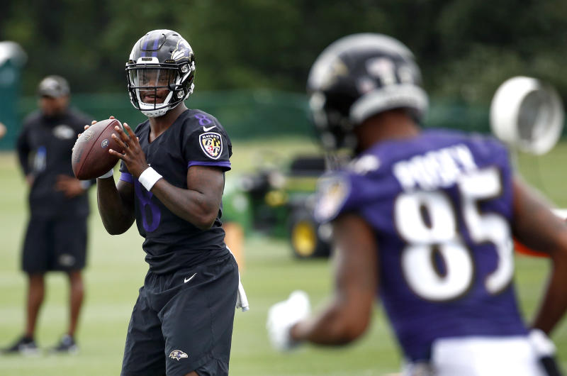 Baltimore Ravens quarterback Lamar Jackson is expected to make his NFL preseason debut in the Hall of Fame game. (AP)