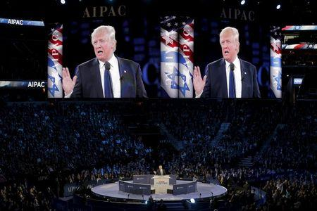 Republican U.S. presidential candidate Donald Trump addresses the American Israel Public Affairs Committee (AIPAC) afternoon general session in Washington
