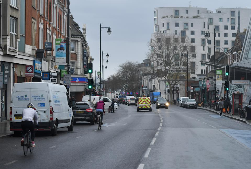 A general view of Clapham high street as the spread of the coronavirus disease (COVID-19) continues, London, Britain, March 30, 2020. REUTERS/Dylan Martinez